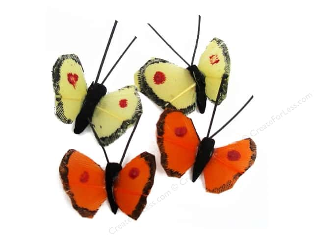 "Midwest Design Butterfly .5"" Feather Assorted Mini 4 pc"