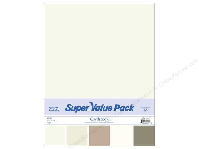 Cardstock Super Value Pack 8 1/2 x 11 in. Khaki Variety 40 pc.