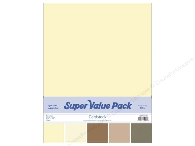 Cardstock Super Value Pack 8 1/2 x 11 in. Neutrals Variety 40 pc.