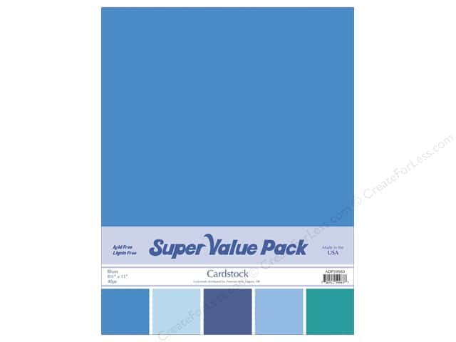 Cardstock Super Value Pack 8 1/2 x 11 in. Blues Variety 40 pc.