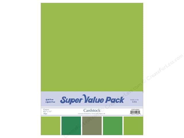 Cardstock Super Value Pack 8 1/2 x 11 in. Greens Variety 40 pc.