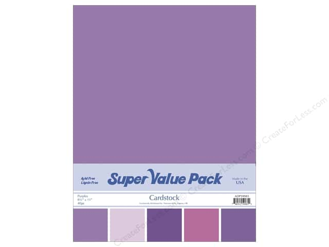 Cardstock Super Value Pack 8 1/2 x 11 in. Purples Variety 40 pc.