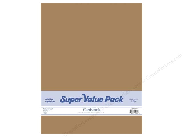 Cardstock Super Value Pack 8 1/2 x 11 in. Natural Kraft 40 pc.