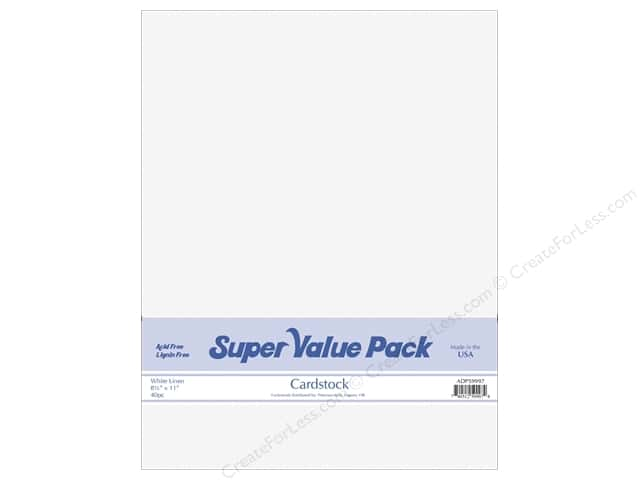 Cardstock Super Value Pack 8 1/2 x 11 in. White Linen 40 pc.
