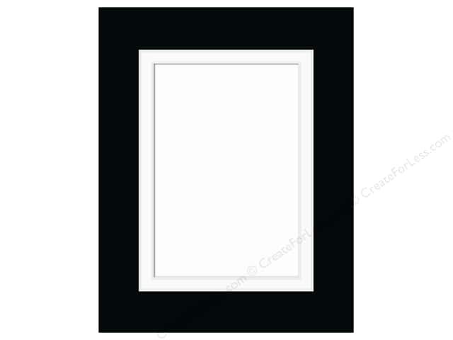 Pre-cut Double Photo Mat Board by Accent Design White Core 11 x 14 in. for 8 x 10 in. Photo Black/White