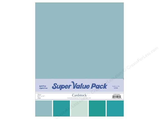 Cardstock Super Value Pack 8 1/2 x 11 in. Aqua Variety 40 pc.