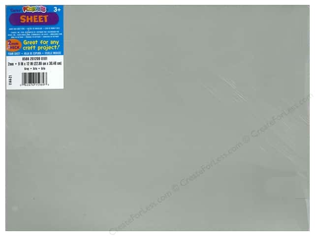 Darice Foamies Foam Sheet 9 x 12 in. 2 mm. Grey (10 sheets)