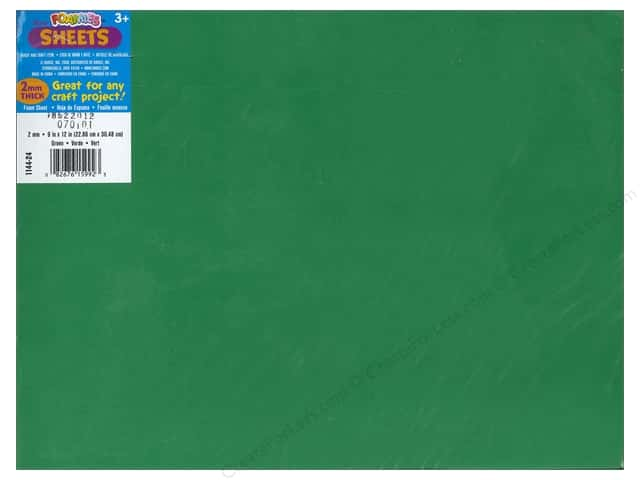 Darice Foamies Foam Sheet 9 x 12 in. 2 mm. Green (10 sheets)