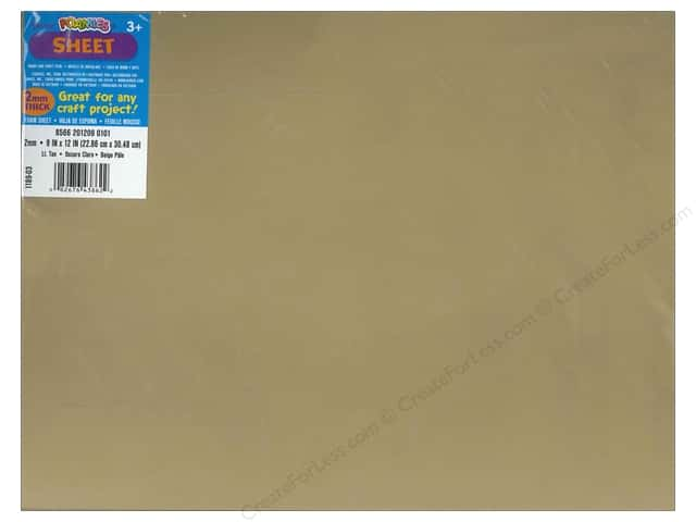 Darice Foamies Foam Sheet 9 x 12 in. 2 mm. Light Tan (10 sheets)