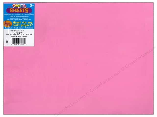Darice Foamies Foam Sheet 9 x 12 in. 2 mm. Fuchsia (10 sheets)