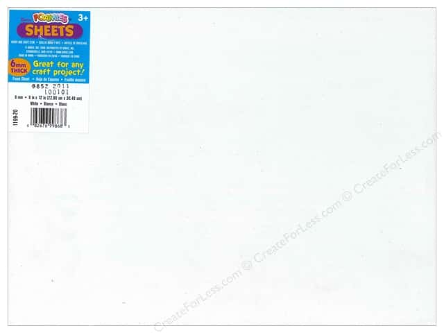 Foamies Foam Sheet  9 x 12 in. 6 mm. White