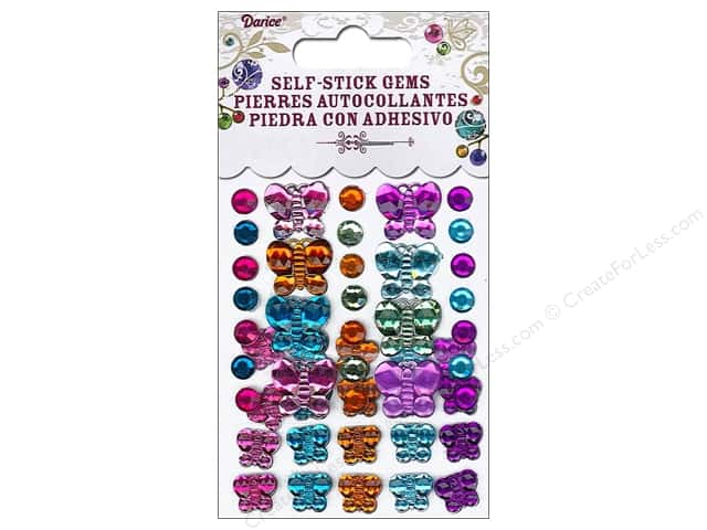 Darice Self-Stick Gems 6 - 12 mm Round and Butterfly 49 pc. Vibrant