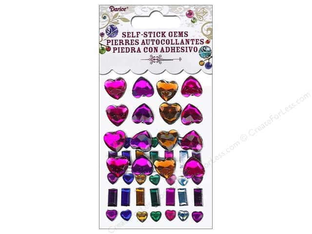 Darice Self-Stick Gems 6 - 12 mm Hearts & Bars 51 pc. Vibrant