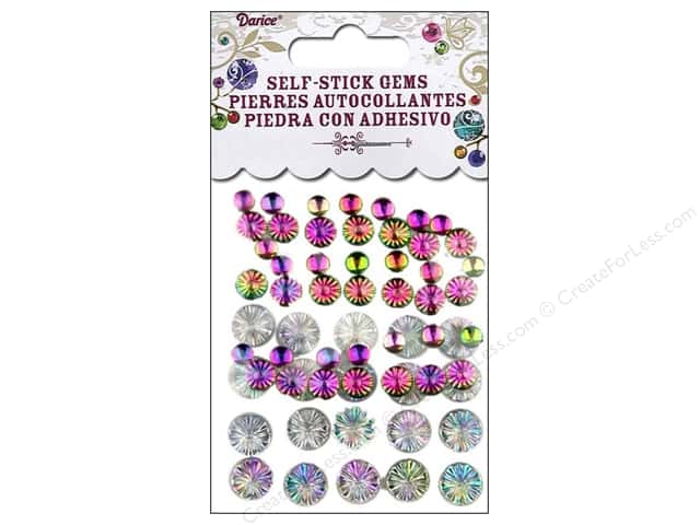 Darice Self-Stick Gems Assorted Size Round Flower 63 pc. Aurora Borealis Holographic