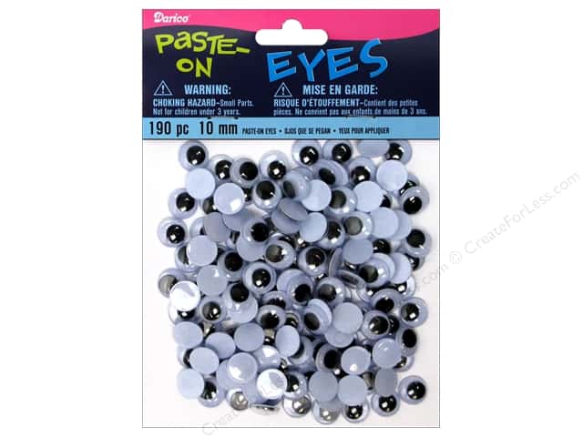 Googly Eyes by Darice Paste-On 10 mm Black 190 pc.