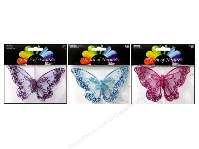 "Midwest Design Butterfly 4.75"" Glitter Mesh Assorted"