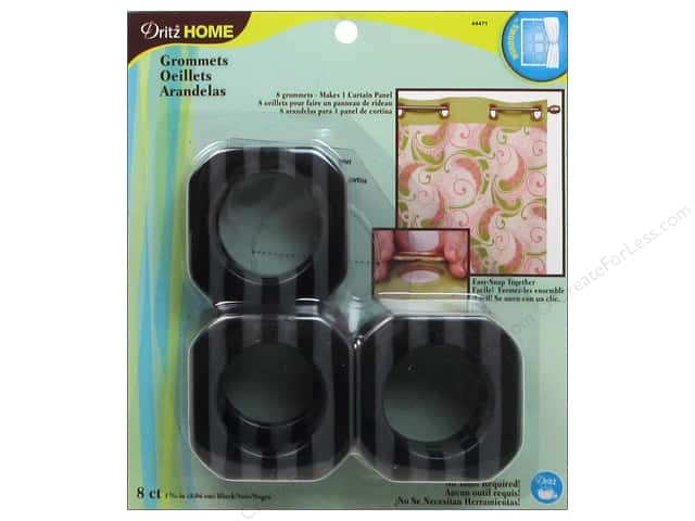 Dritz Home Curtain Grommets 1 9/16 in. Square Black Stripe 8pc