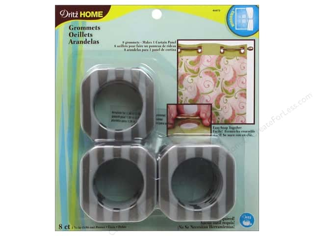 Dritz Home Curtain Grommets 1 9/16 in. Square Pewter Stripe 8pc