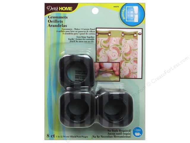 Dritz Home Curtain Grommets 1 in. Square Black Stripe 8pc
