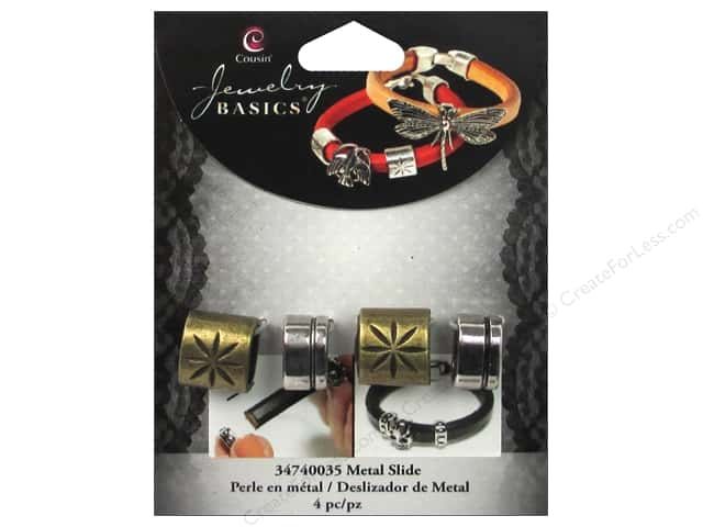 Cousin Metal Slide Charm Spacer Gold/Silver 4 pc.