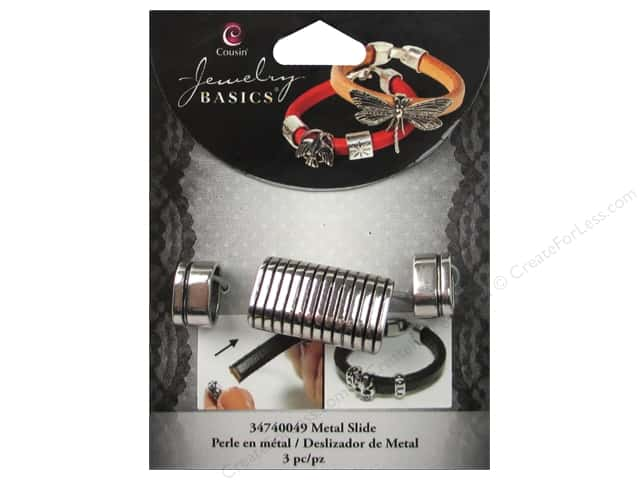 Cousin Metal Slide Charm Bar With Stripe Silver 3 pc.