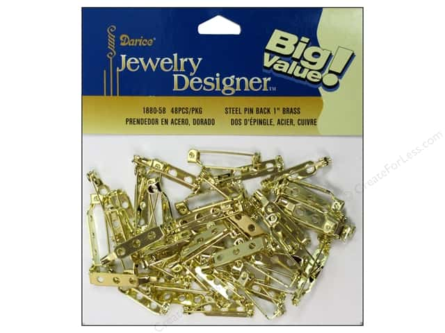 Darice Jewelry Designer Pin Backs 1 in. Brass 48 pc.