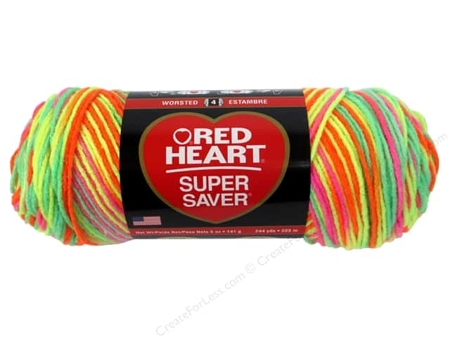 Red Heart Super Saver Yarn #3934 Day Glow 244 yd.