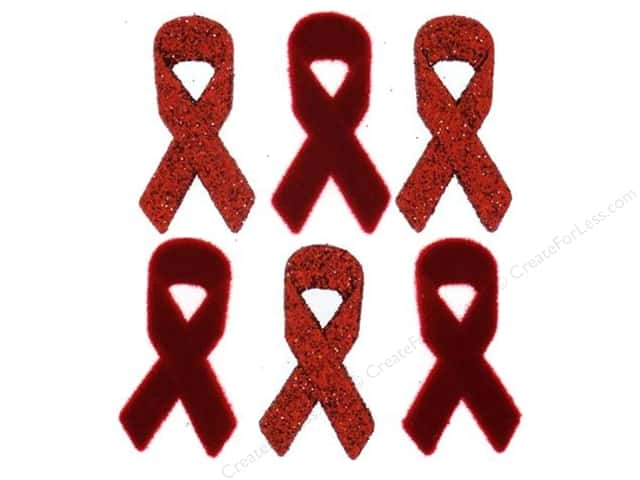 Jesse James Dress It Up Embellishments Awareness Ribbons Red