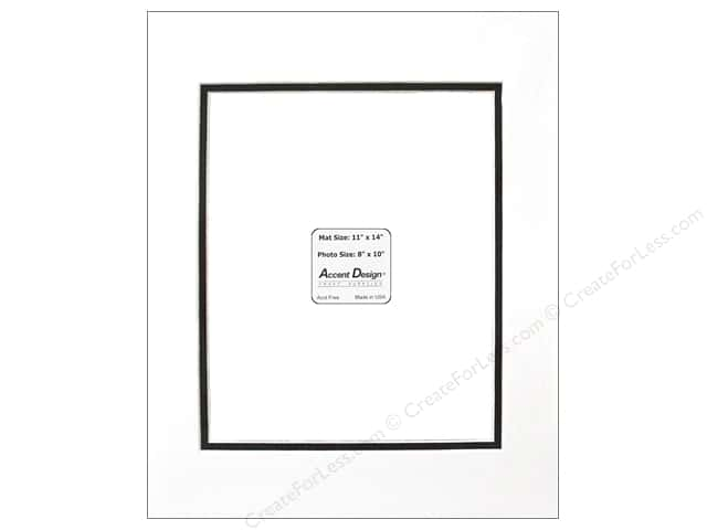 Pre-cut Double Photo Mat Board by Accent Design White Core 11 x 14 in. for 8 x 10 in. Photo White/Black
