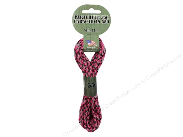 Pepperell 550 Parachute Cord 16 ft. Pink Camo