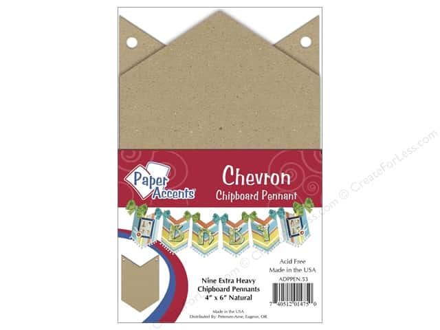 Paper Accents Chipboard Pennants 4 x 6 in. Chevron 9 pc. Kraft