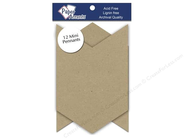 Paper Accents Chipboard Pennants  2 1/2 x 4 in. Mini Chevron 12 pc. Natural