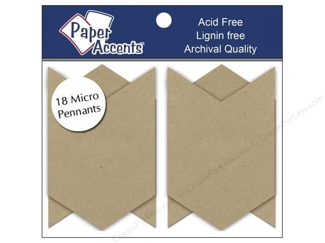 Paper Accents Chipboard Pennants  1 1/4 x 2 in. Micro Chevron 18 pc. Kraft
