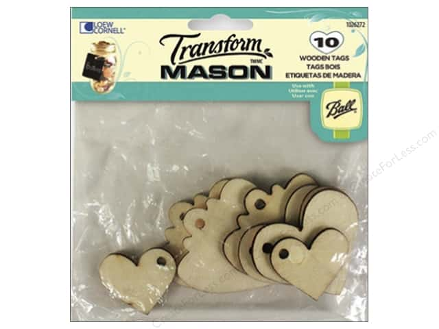 Loew Cornell Transform Mason Wooden Tags 10 pc. Hearts