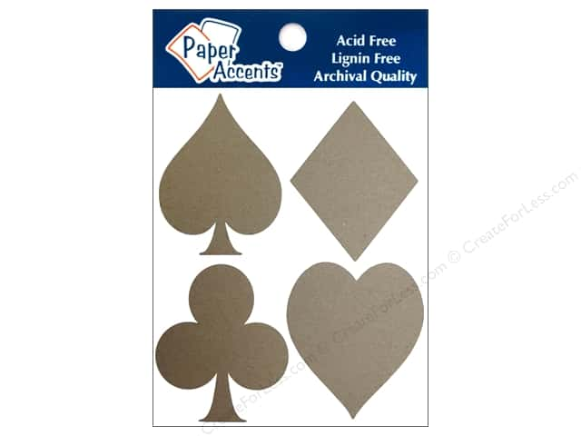 Paper Accents Chipboard Shape Card Suits 8 pc. Natural