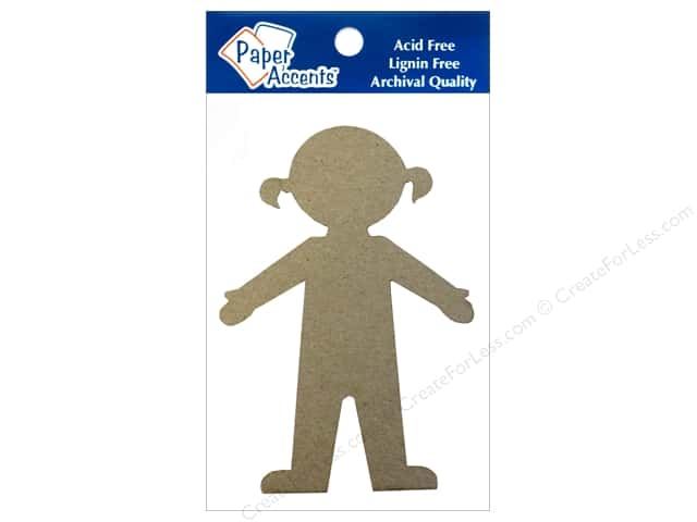 Paper Accents Chipboard Shape Girl 8 pc. Kraft