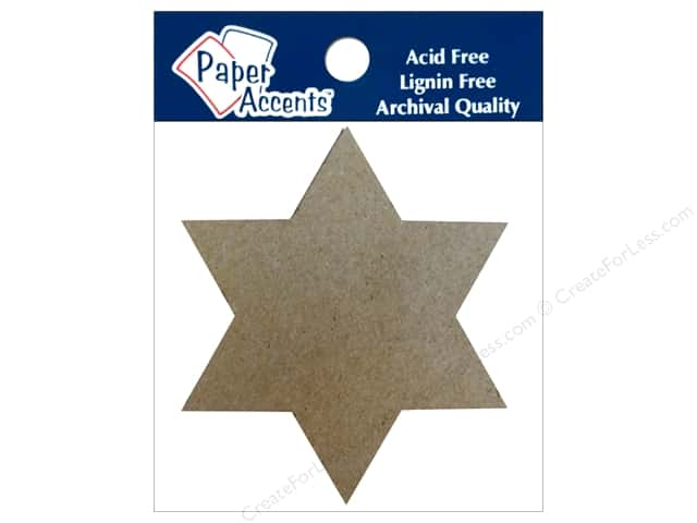 Paper Accents Chipboard Shape Star of David 8 pc. Natural