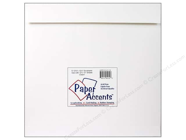 12 1/4 x 12 1/4 in. Envelopes by Paper Accents 5 pc. #119 Cream