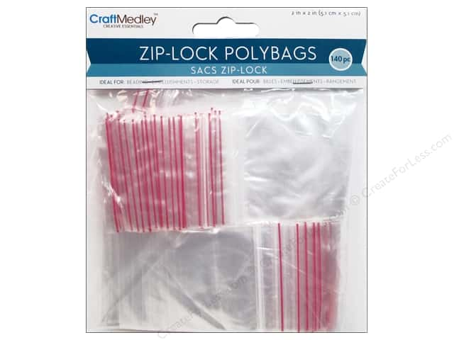 Craft Medley Zip-Lock Polybags 2 x 2 in. 140 pc.