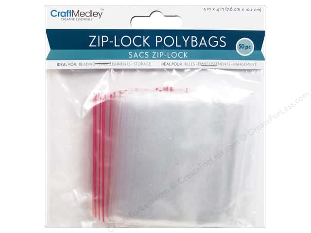 Craft Medley Zip-Lock Polybags 3 x 4 in. 50 pc.