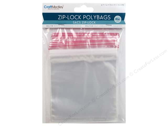 Craft Medley Zip-Lock Polybags 4 x 4 in. 40 pc.