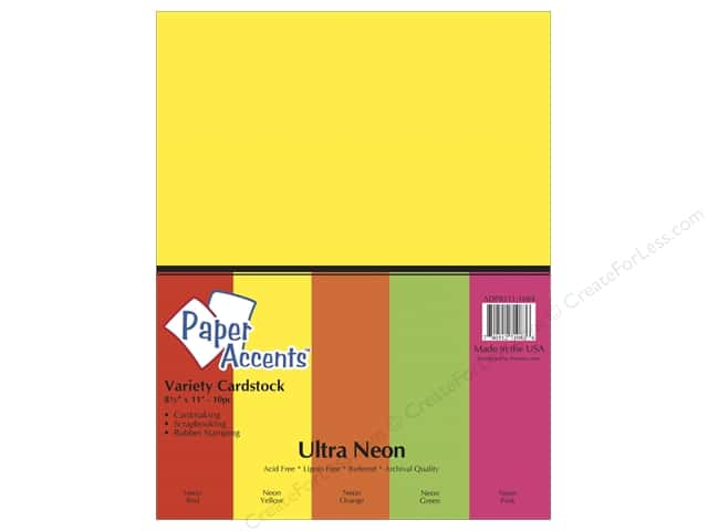Paper Accents Cardstock Variety Pack 8 1/2 x 11 in. Ultra Neon 10 pc.