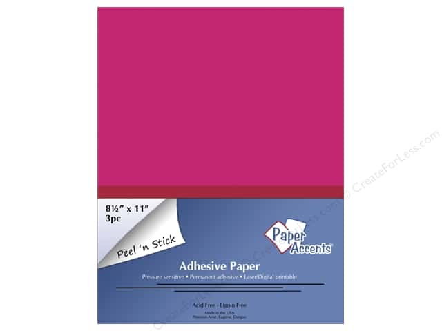 Adhesive Paper by Paper Accents 8 1/2 x 11 in. Neon Pink 3 pc.