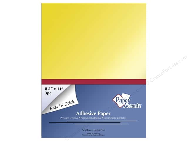 Adhesive Paper by Paper Accents 8 1/2 x 11 in. Glossy Gold 3 pc.