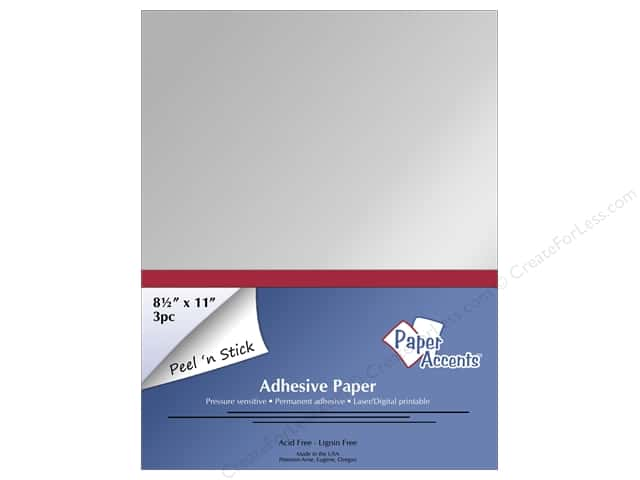 Adhesive Paper by Paper Accents 8 1/2 x 11 in. Glossy Silver 3 pc.