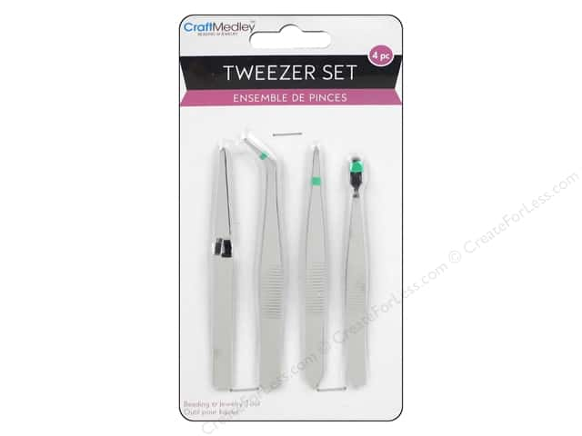 Craft Medley Tweezer Set Assorted 4 pc.