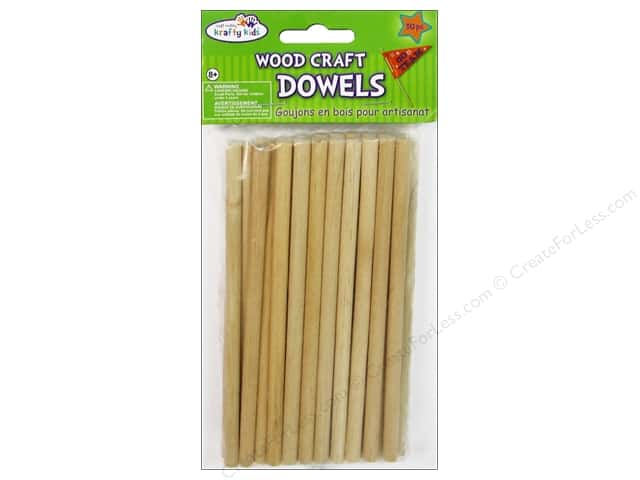 Craft Medley Wood Dowel 6 x 1/4 in. Natural 30 pc.