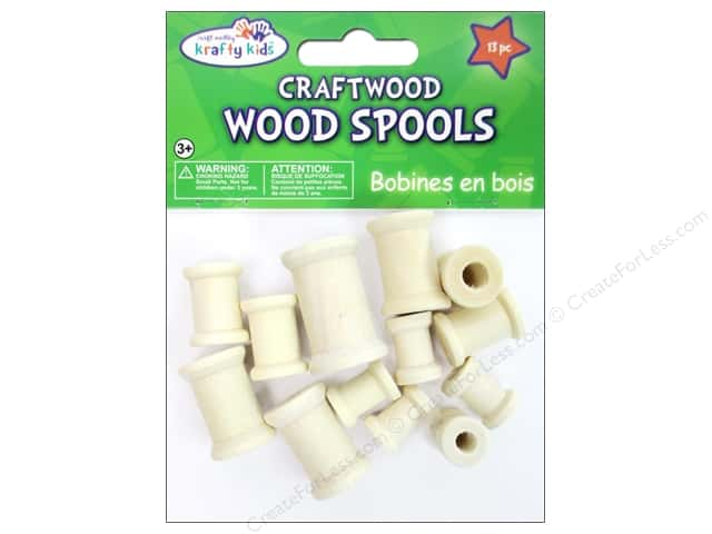 Craft Medley Wood Spools Assorted Natural 13 pc.