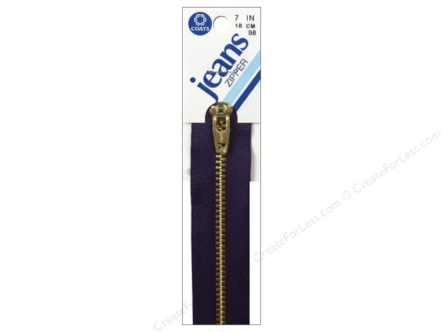 Coats & Clark #4 Brass Jean Zipper 7 in. Purple