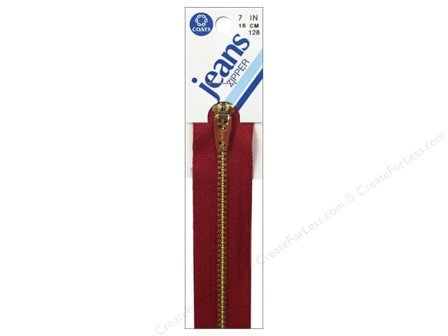 Coats & Clark #4 Brass Jean Zipper 7 in. Red